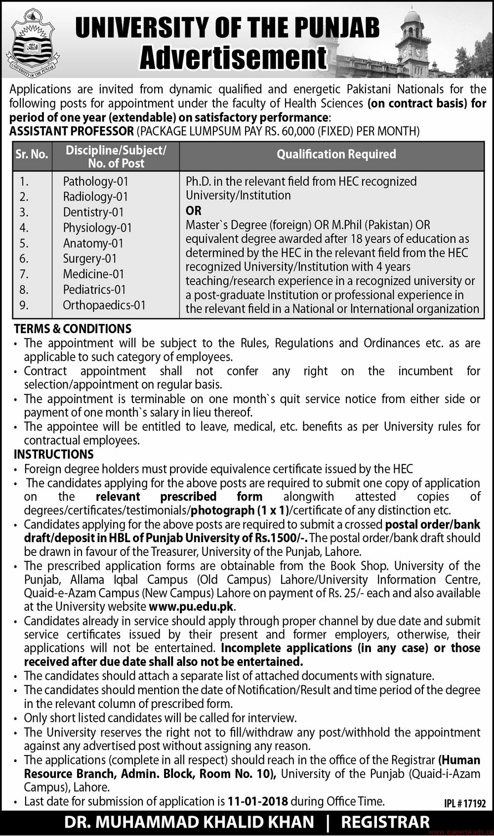 University of the Punjab Jobs 2017