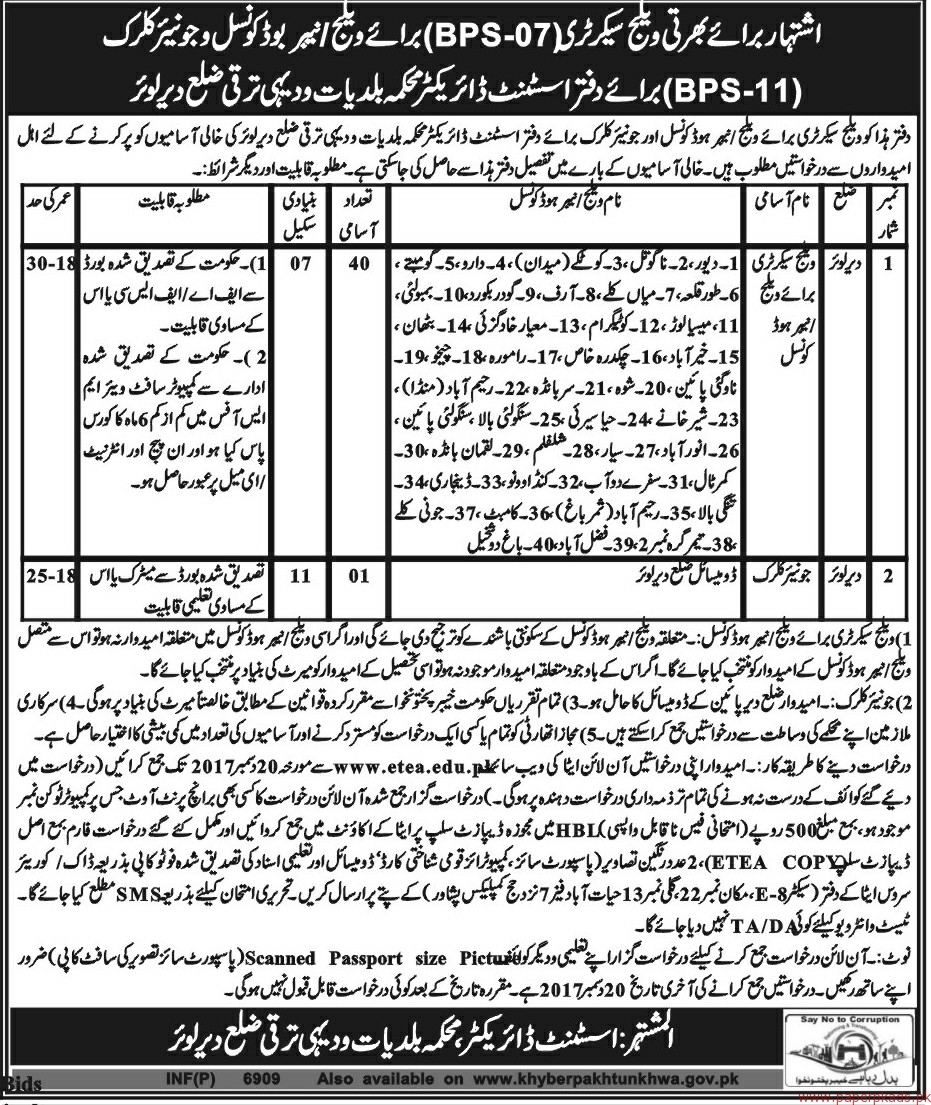 Village Secretary and Junior clerks Jobs