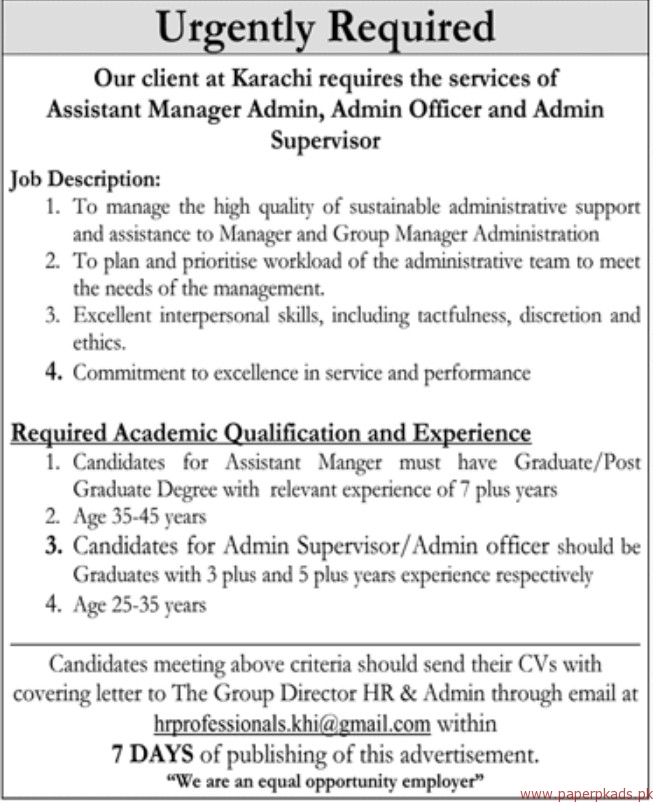 Assistant Manager Admin, Admin Officer and Admin Supervisor Jobs 2018