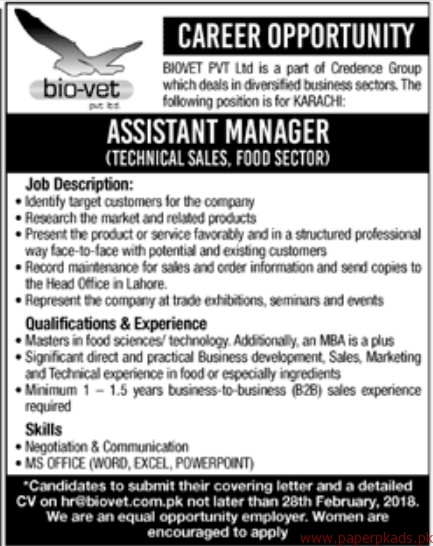 BIOVET Private Limited Jobs 2018