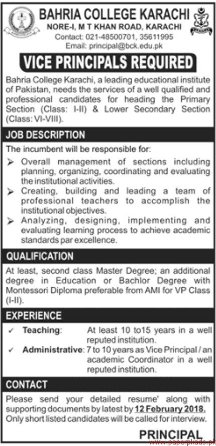Bahria College Karachi Jobs 2018