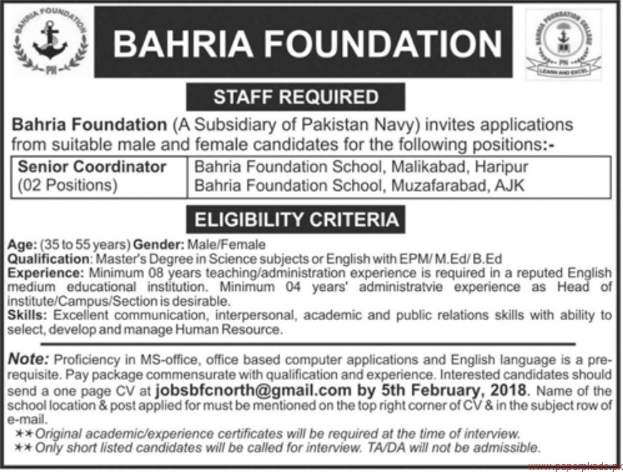 Bahria Foundation Jobs 2018-1