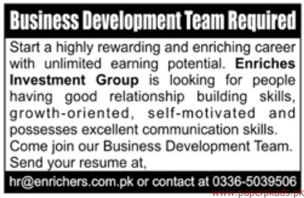 Business Development Team Required
