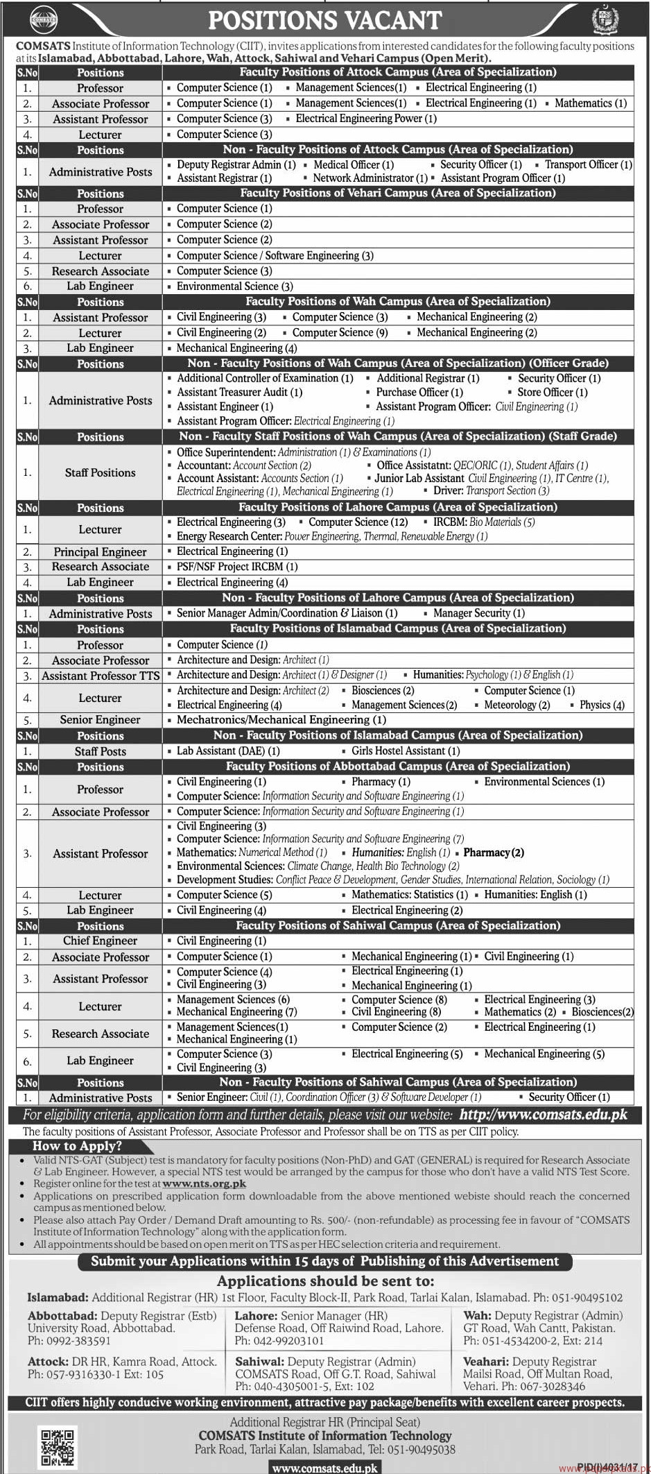 COMSATS Institute of Information Technology CIIT Jobs 2018