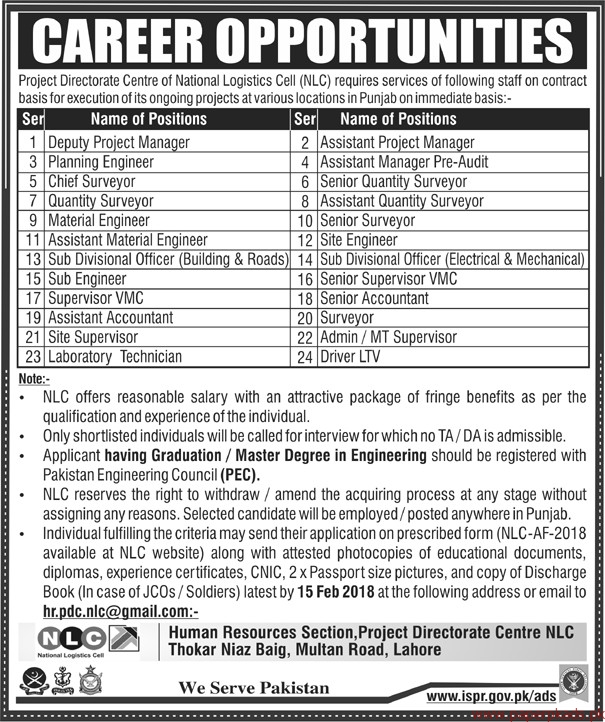 Centre of National Logistics Cell NLC Jobs 2018