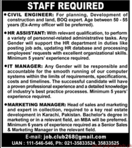Civil Engineer HR Assistant IT Managers and Other Jobs