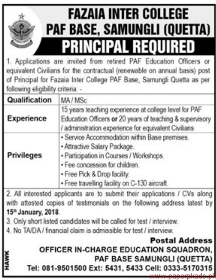 Fazaia Inter College PAF Base Samungli Jobs 2018