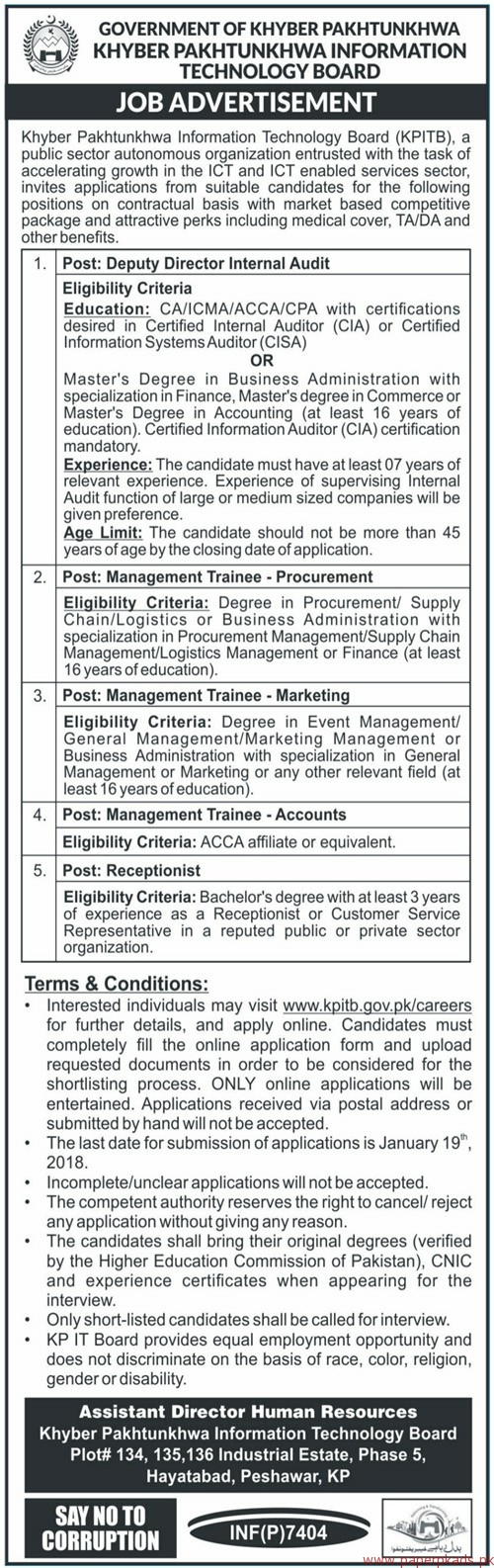 Government of KPK - Khyber Pakhtunkhwa Information Technology Board Jobs 2017