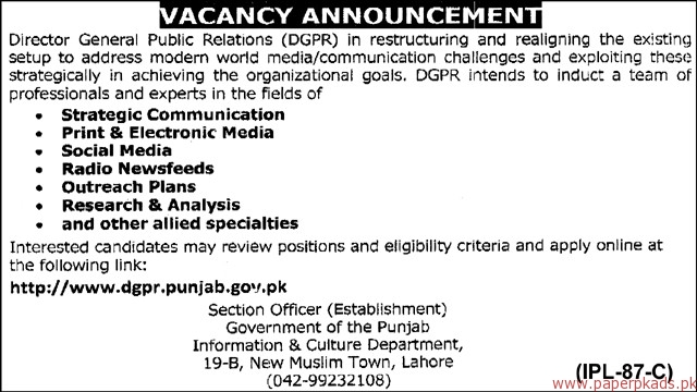 Government of the Punjab - Information & Culture Department Jobs 2018