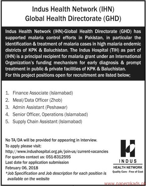 Indus Health Network Global Health Directorate Jobs 2018