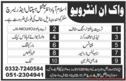 Islamabad International Hospital & Research Centre Jobs 2018