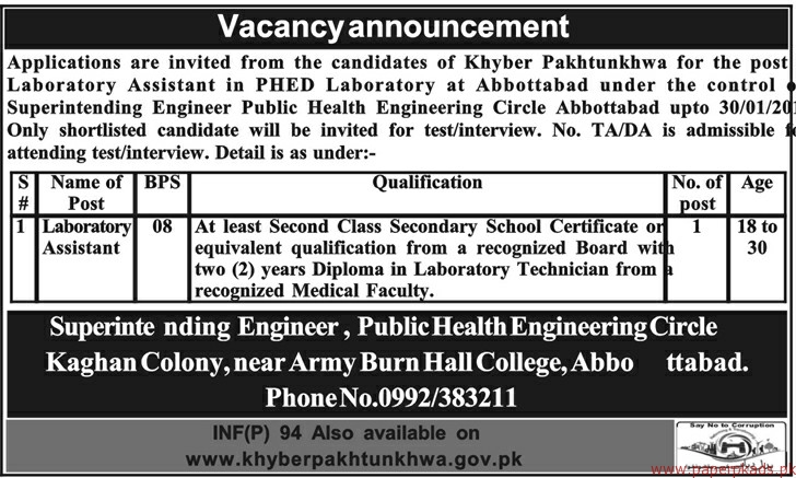 Laboratory Assistnat Required