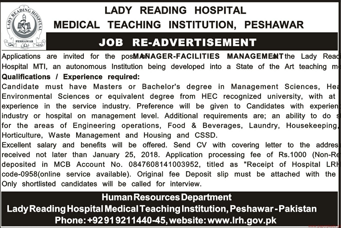 Lady Reading Hospital Medical Teaching Institution Jobs 2018