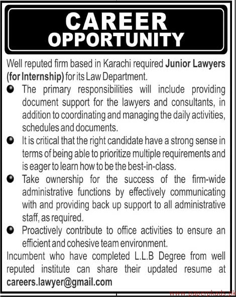 Law Department Jobs 2018