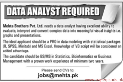 Mehta Brothers Private Limited Jobs 2018