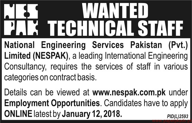 National Engineering Services Pakistan Private Limited NESPAK Jobs 2018
