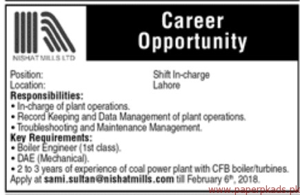 Nishat Mills Limited Jobs 2018