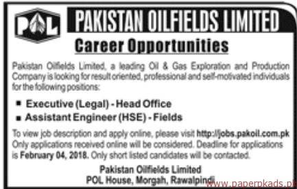 Pakistan OilFields Limited Jobs 2018