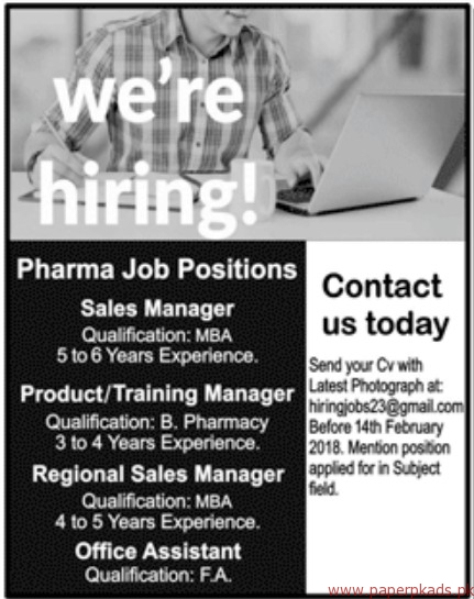 Pharma Staff Required
