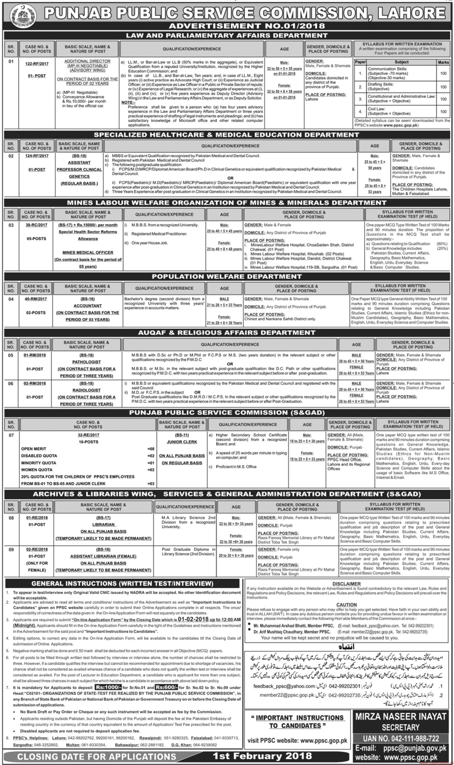 Punjab Public Service Commission Jobs 2018