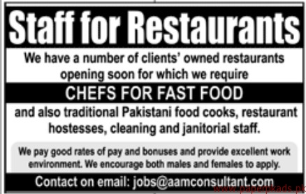 Restaurants Staff Required