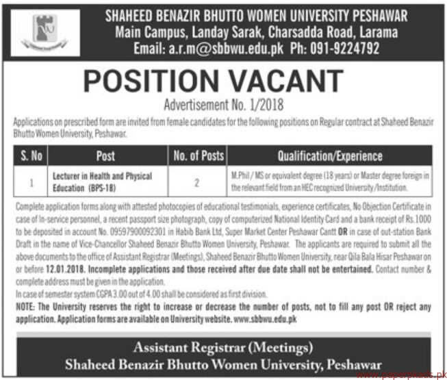 Shaheed Benazir Bhutto Women University Jobs 2018