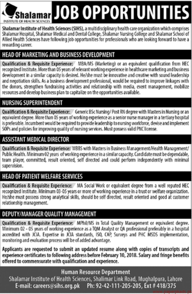Shalamar Institute of Health Sciences SIHS Jobs 2018