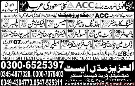 Shuttring Carpainters Insulators Mason Plumbers Jobs in Saudi Arabia