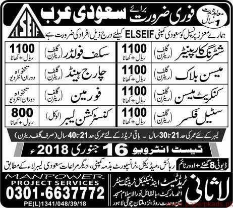 Shuttring Carpainters Mason Steel Fixers and Other Jobs in Saudi Arabia