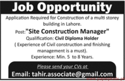 Site Construction Managers Jobs 2018