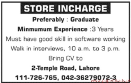 Store Incharge Required
