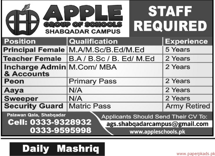 APPLE Group of Schools Jobs 2018