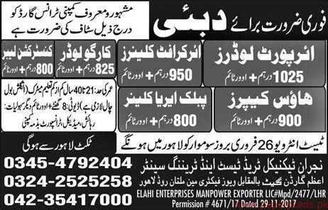 Air Port Loaders Cleaners and Other Jobs in Dubai