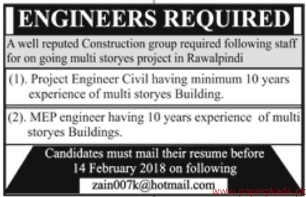 Construction Group Staff Required
