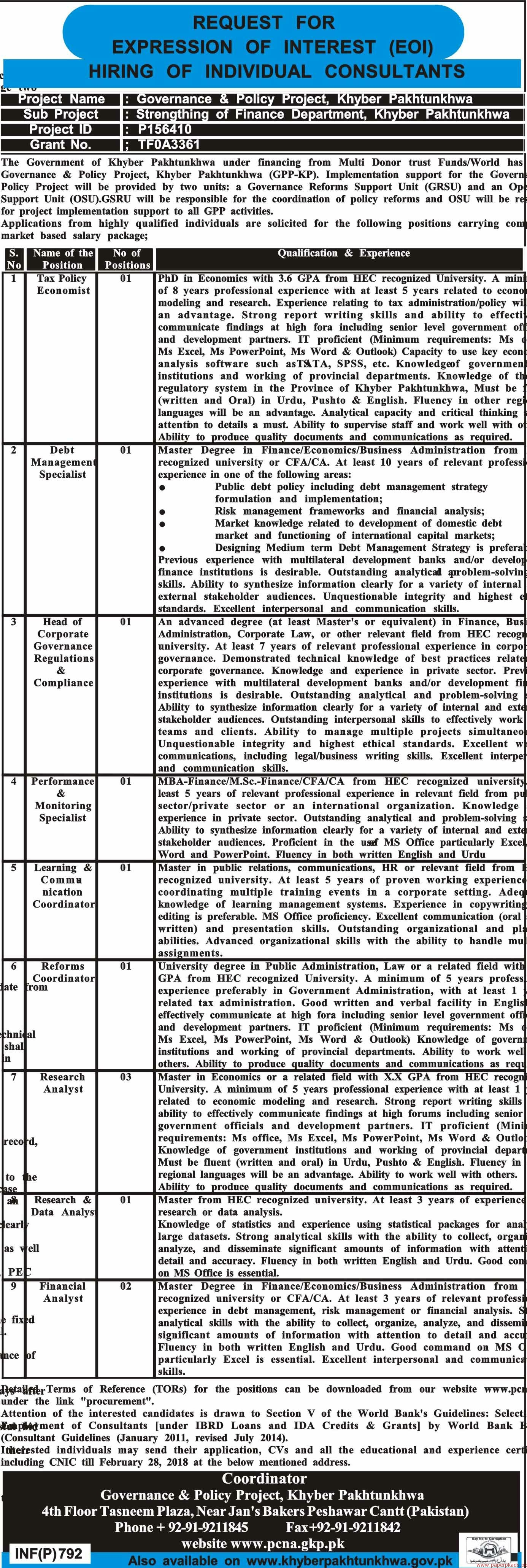Governance & Policy Project Khyber Pakhtunkhwa Jobs 2018