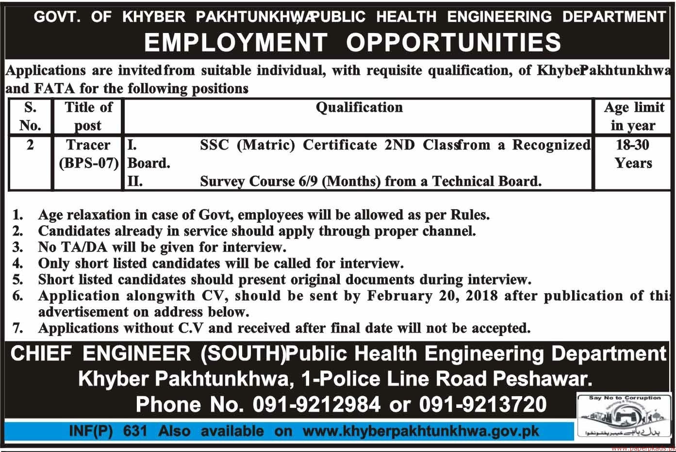 Government of Khyber Pakhtunkhwa - Public Health Engineering Department Jobs 2018