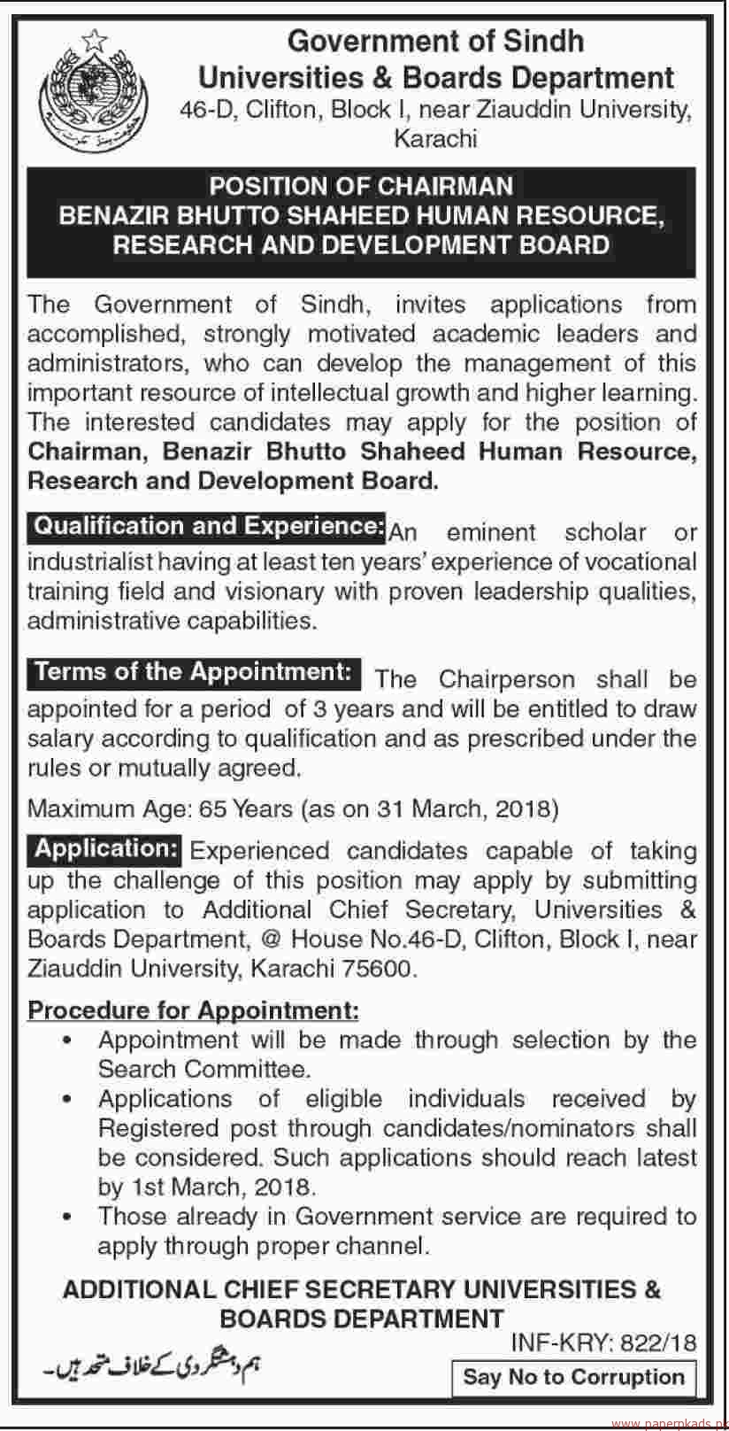 Government of Sindh - Universities & BOards Department Jobs 2018