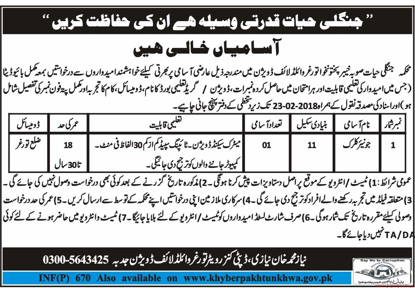Junior Clerks Required for kpk-2