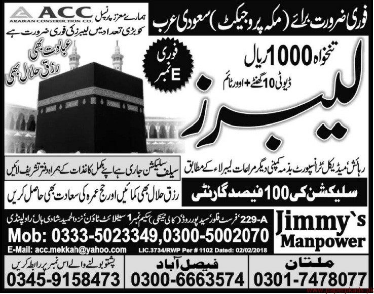 Labours Required for Saudi Arabia