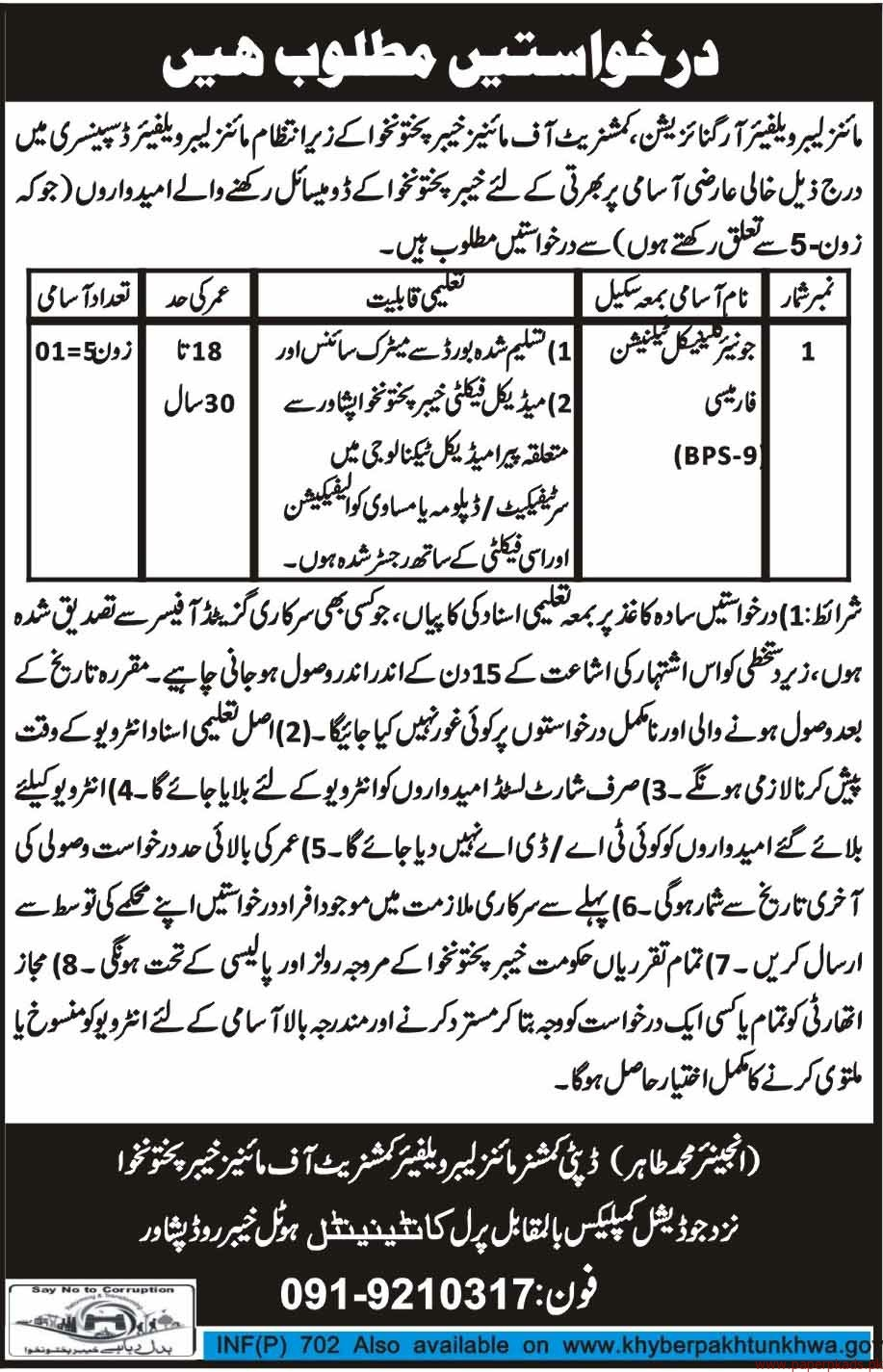 Mines Labour Welfare Organization Jobs 2018