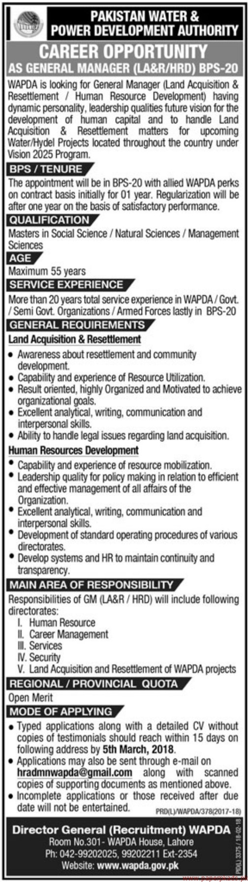 Pakistan Water & Power Development Authority Jobs 2018