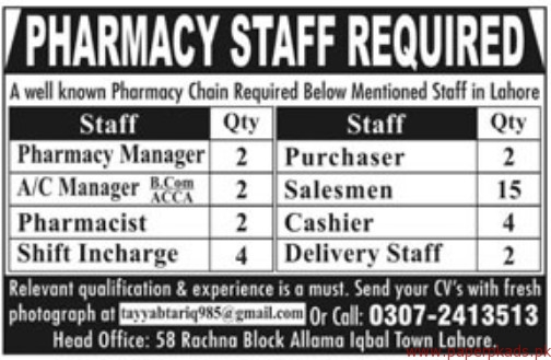 Pharmacy Staff Required