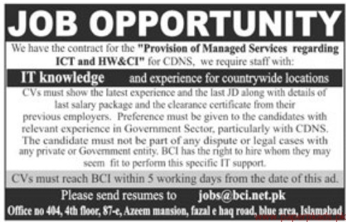 Provincial of Managed Services Regarding ICT and HW&CI Jobs 2018
