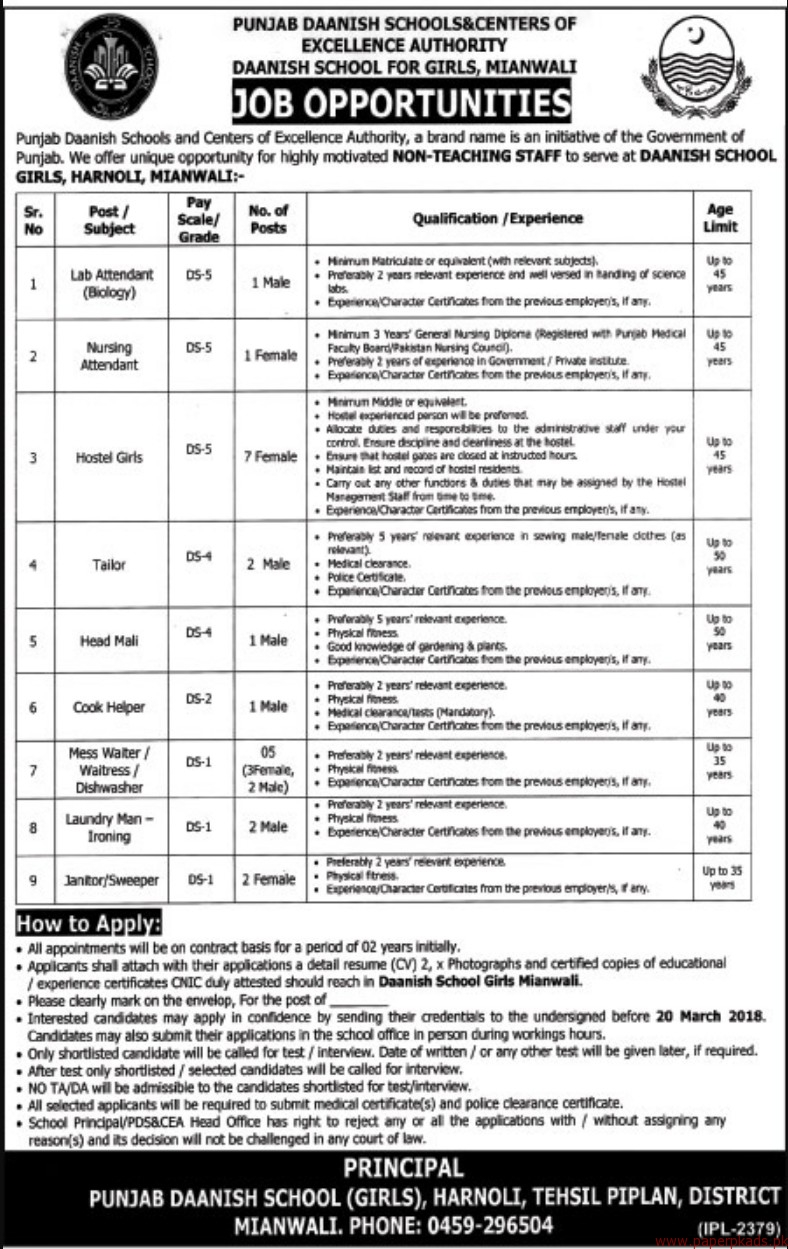 Punjab Daanish Schools & Centers of Excellence Authority Jobs 2018