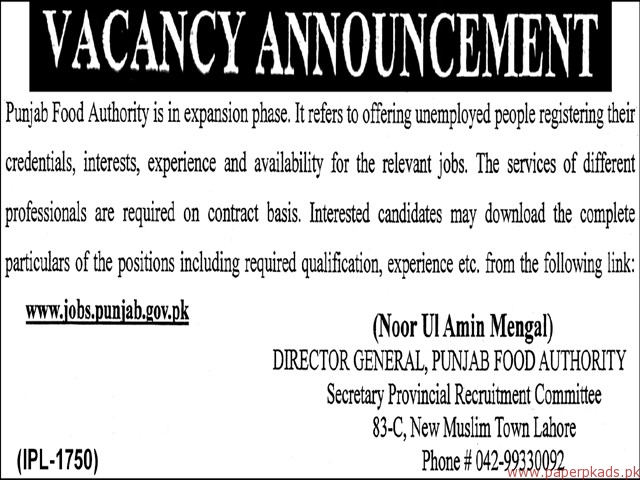 Punjab Food Authority Jobs 2018-2
