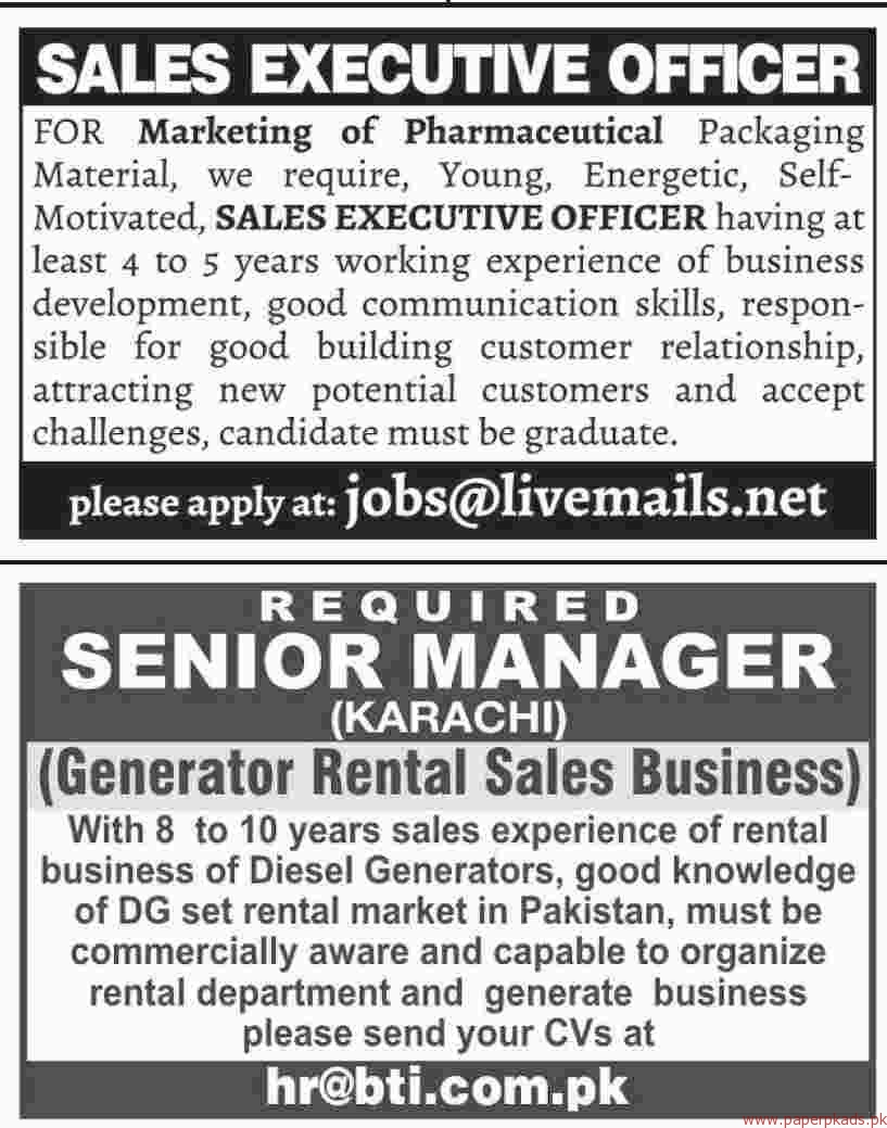 Sales Exective Officers and Senior Managers Jobs