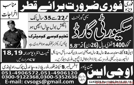 Security Guards Required for QATAR