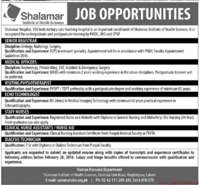 Shalamar Institute of Health Sciences Shalamar Hospital Jobs 2018