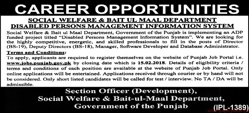 Social Welfare & Bait ul Maal Department Jobs 2018