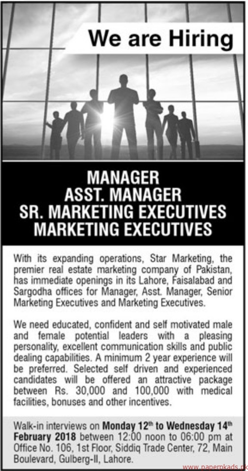 Star Marketing Jobs 2018